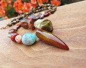 Agate Claw Pendant Gemstone Necklace - Tribal Boho Vibe - Funky Crystal Stone OOAK Fall Jewelry - Brown Red Yellow Orange - Summer Gypset