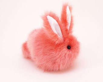 Easter Gift Stuffed Animal Cute Plush Toy Bunny Kawaii Plushie Coral the Super Soft Bunny Rabbit Cuddly Faux Fur Toy Medium 5x8 Inches