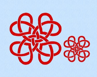Hearts Irish Celtic Knot Machine Embroidery Design File in two sizes