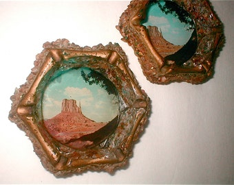 Western Souvenir Ashtray Turquoise, Agate Chips Local Scenery Photo Tray Vintage 40s Kitsch Travel the USA Kitsch