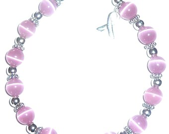 Pink Breast Cancer Awareness Packaged Bracelet - 8mm