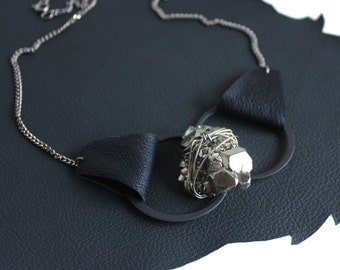 Pyrite Leather Lita Geode Necklace
