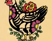 Day of the Dead CHICKEN Mexican Folk Art Dia de los Muertos Print 5 x 7, 8 x 10 or 11 x 14