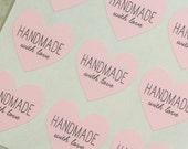48 Handmade With Love Heart Stickers, Handmade Stickers, Handmade Labels, Pink Labels, Handmade With Love Stickers, Envelope Seals