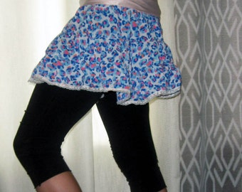 Silky Blue leopard lace Skirt Small Medium by Vicmes Clothing