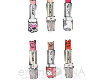 Pretty Kitties Lipsticks Fashion Illustration Art Print