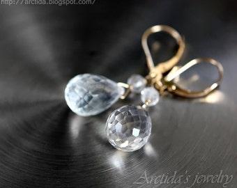 14K solid gold jewelry Rock Crystal Clear Quartz earrings - fine jewelry yellow gold bridal earrings white winter wedding jewelry rusteam