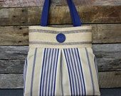 Blue and Tan Stripes Handbag / Purse with Jute Webbing Band / READY TO SHIP