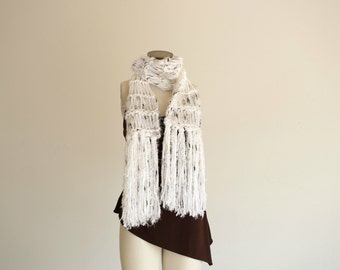 White Scarf, Hand Knit Scarf, Soft Scarf with Fringe. White with Black and Tan (Brown) Speckles