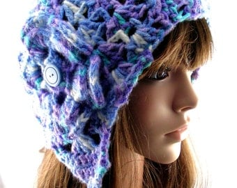 Blue, Lavender and Turquoise Earflap Hat with Flower, EF130-01