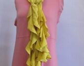 Yellow Ruffle Scarf  Handmade by Fashion Green T Bags