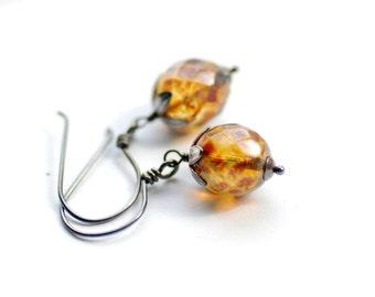 Dark Champagne Glass Earrings, Earthy Earrings, Dangle Earrings, Sterling Silver, Blackened Silver Earrings, Autumn Jewelry, Picasso Glass