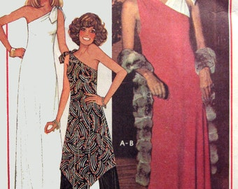 Vintage 70s One Shoulder Dress or Tunic with Pallazzo Pants  McCalls 5371 1970s American Hustle Sewing Pattern Size 14-16 Bust 36-38 UNCUT