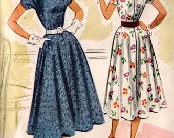 1950s Rockabilly Dress McCalls 9215 Vintage 50s Sewing Pattern Size 12 Bust 30