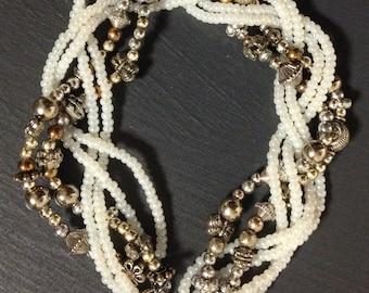Beaded Braid Statement Necklace