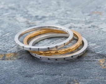 Stacker Rings in Silver and Gold, pattern, sterling silver, 14K Gold fill, three rings