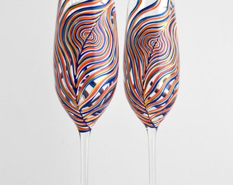 Navy, Gray and Coral Peacock Feather Champagne Flutes - Set of 2 Personalized Peacock Toasting Flutes - Hand Painted Wedding Flutes