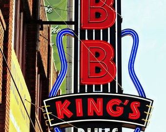 Memphis TN Photography BB King's Neon Marquee Print Red Green Yellow Black Home Decor Beale Street Retro Wall Art 8x12 Fine Art Photograph