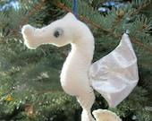 Seahorse Softie Ornament (cream/silver)