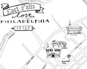 East Falls Hand-Drawn Map Philadelphia