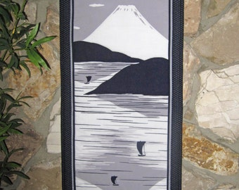 Quilted Wall Hanging Mount Fuji and Ships Japanese Asian Design Scroll Size