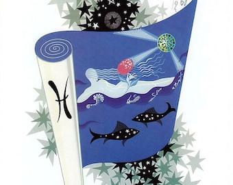 Vintage Erte Zodiac Print - Pisces & Capricorn - Color Plate Illustration