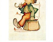 Small Hummel Print with Verse - Little Boy with Umbrella, Little Boy and Girl - 1950 Vintage Book Page - 9 x 6