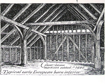 The American Barn, Barn Posts - 1967 Vintage Print - Black and White - 9 x 11
