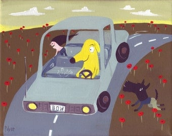 Funny Dog Driving Art Painting - Whimsical Dog and Topless Girl - Yellow Lab Pitbull Golden Retriever Scottie Scottish Terrier Folk Art