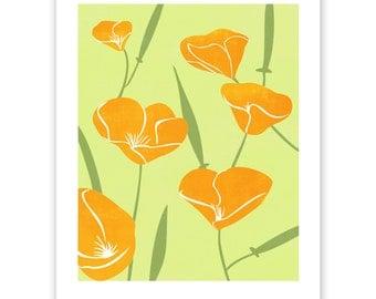 ART307: California Poppies Block Print Art Reproduction