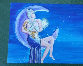 Aquarius Astrology Art Card Asteria Star Goddess 5 by 7 Gift Card Free Shipping in United States