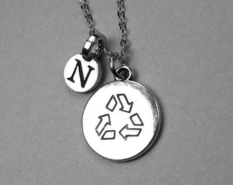 Recycle Symbol Sign Necklace, Recycle charm, Personalized jewelry, initial necklace, monogram letter, initial hand stamped, initial charm