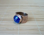 Round, blue dichroic glass cabochon and copper metalwork ring, size 8 US - copper jewelry - copper ring - dichroic glass ring