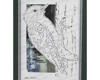 Hairy Woodpecker Papercutting- Handcut Original
