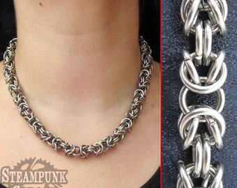 Necklace - Stainless Steel Byzantine Weave - Chainmaille