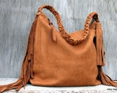 Soft Slouchy Leather Fringe Bag in Tobacco Nubuck by Stacy Leigh