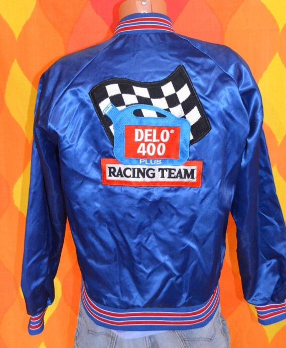 Vintage 80s Satin Baseball Jacket Delo 400 Car Racing Nascar