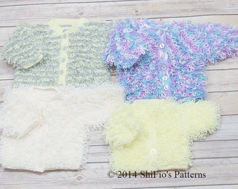 CROCHET PATTERN For Loopy Baby Cardigans in 4 Sizes PDF 220 Digital Download