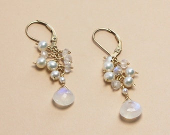 Moonstone Earring, June Birthstone, Beach Wedding Earrings, Pearl Cluster Earrings, Beachy Bridal Jewelry, Rainbow Moonstone, Gold
