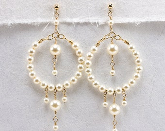 Pearl Hoop Earring, Cream Pearl Earrings, Beaded Hoop Earring, Gold Filled or Sterling Silver