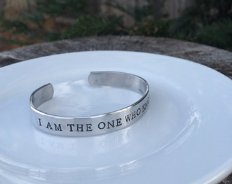 I am the one who knocks, Breaking Bad inspired, hand stamped silver cuff bracelet