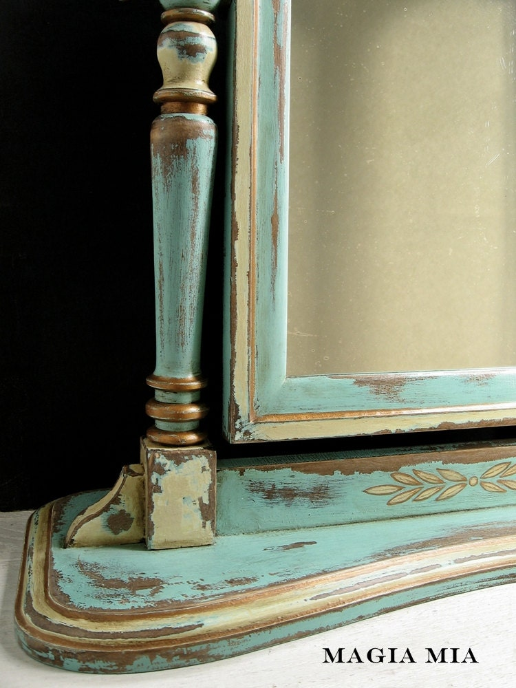 Aqua Amp Gold Dresser Mirror Chalk Painted Wooden Tilt Swing
