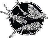 Zentangle Stonefly, Caddis and Mayfly Laminated Vinyl Decal