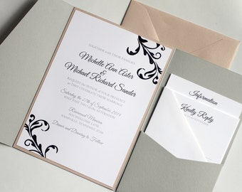 Rose Quartz and Grey Pocketfold Invitations, Blush Invites, Etsy Weddings, Embossed Invite, Pocketfold Invite, Southern Charm, Black Tie