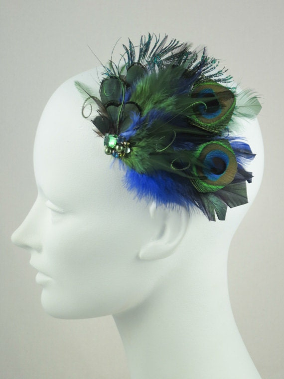 Peacock Feather Hair Clip Green And Blue Jewel Toned