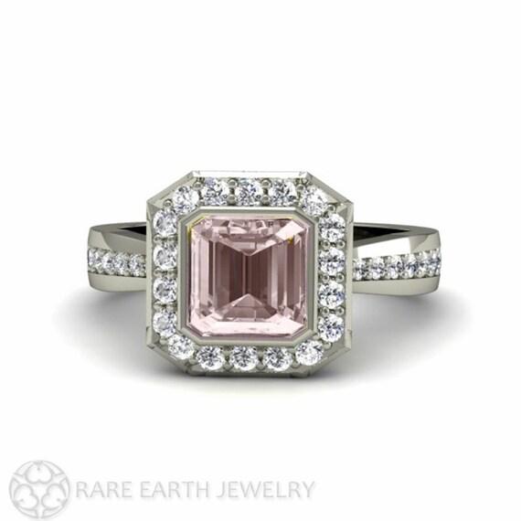 Asscher Morganite Engagement Ring Morganite Ring Bezel Diamond Halo 14K or 18