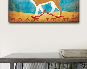 Beach Life Shiba Inu dog in sandals illustration graphic artwork on gallery wrapped canvas by Stephen Fowler Customize it!
