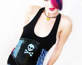 50% OFF SALE Agoraphobix Leo Tart skull patch blue leopard boned corset | underbust corset