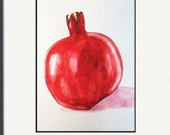 Pomegranate No.2 - Original Watercolor Painting - Home Decor - Kitchen Art