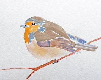 European Red Robin Painting - Original Watercolor art - European species - Bird Art - bird illustration - 5X7